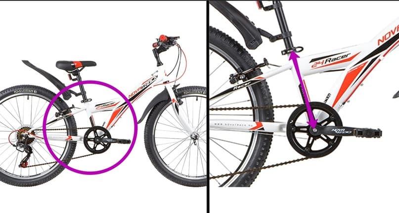 Стрелками указано место где измеряется размер рамы велосипеда
